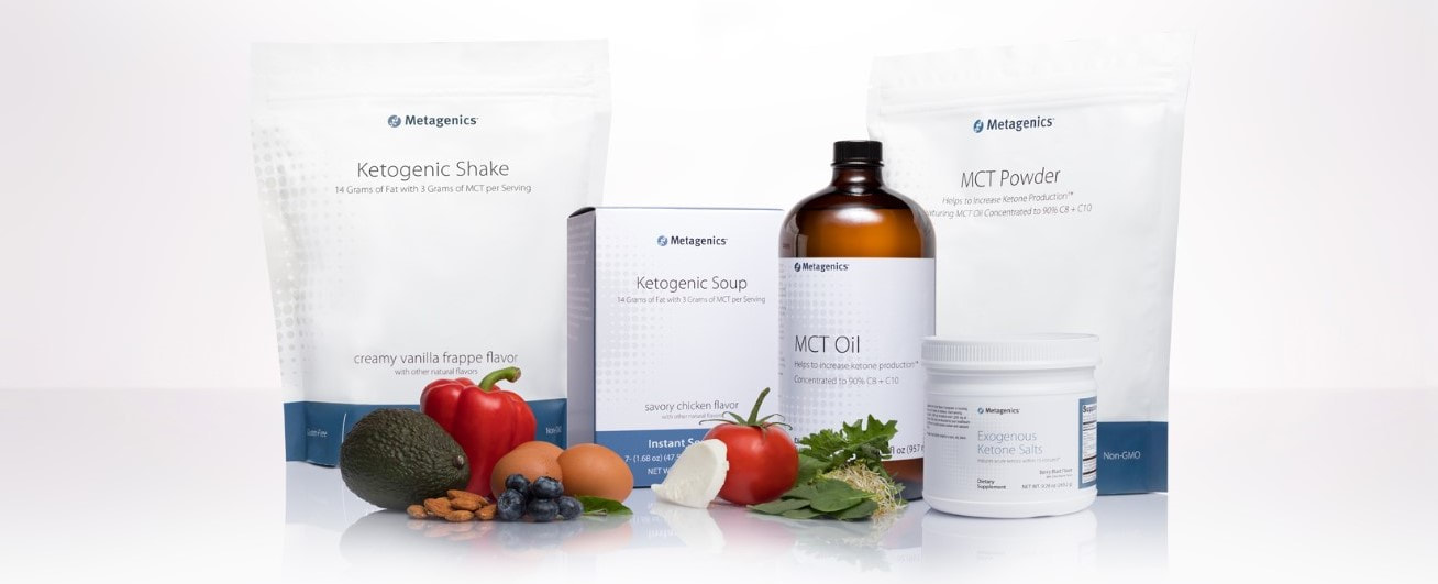 Metagenics ketogenic diet program, ketone salts, mct oil, ketogenic shakes and ketogenic soups